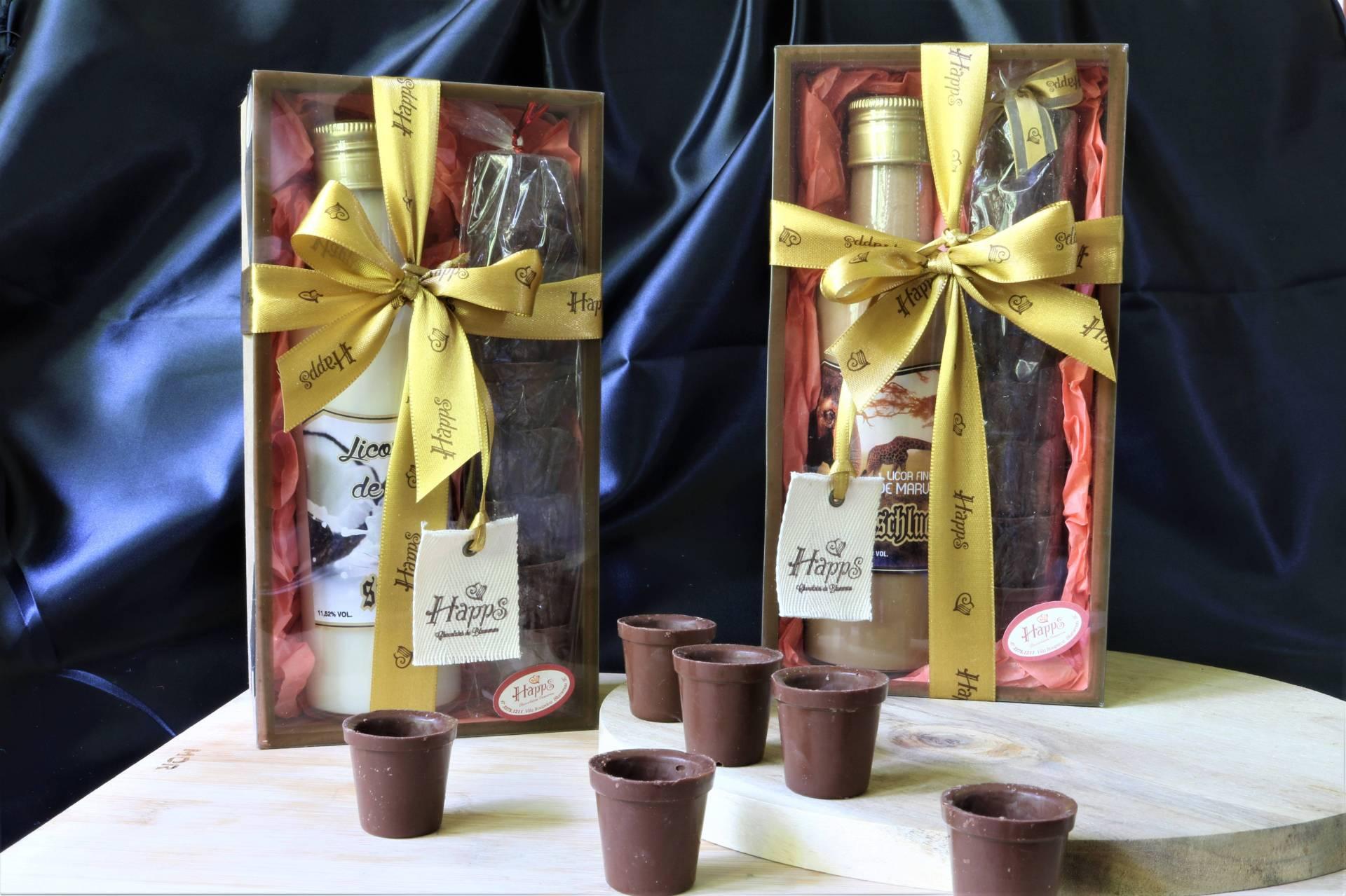 Kit Especial de Licor com Copinhos de Chocolate