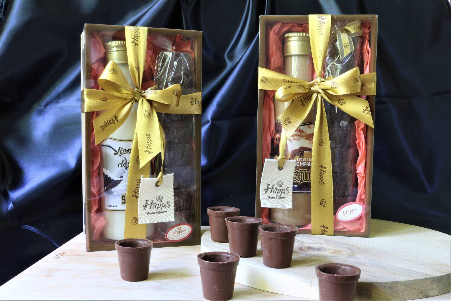 Kit Especial de Licor com Copinhos de Chocolate